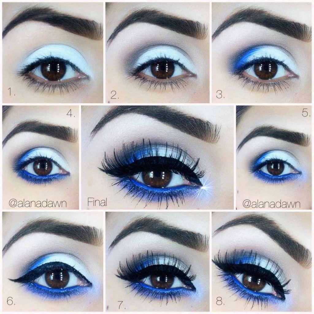 Royal blue and silver eye makeup